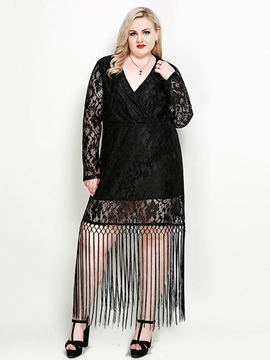 Ericdress Plus Size Tassel Lace V-Neck Patchwork Dress