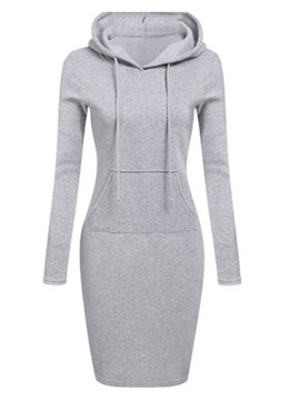 Ericdress Hooded Long Sleeve Above Knee Pocket Plain Dresses