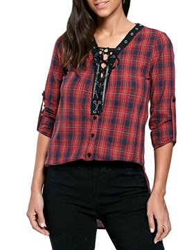 Ericdress Casual Plaid Loose Long Sleeve Blouse