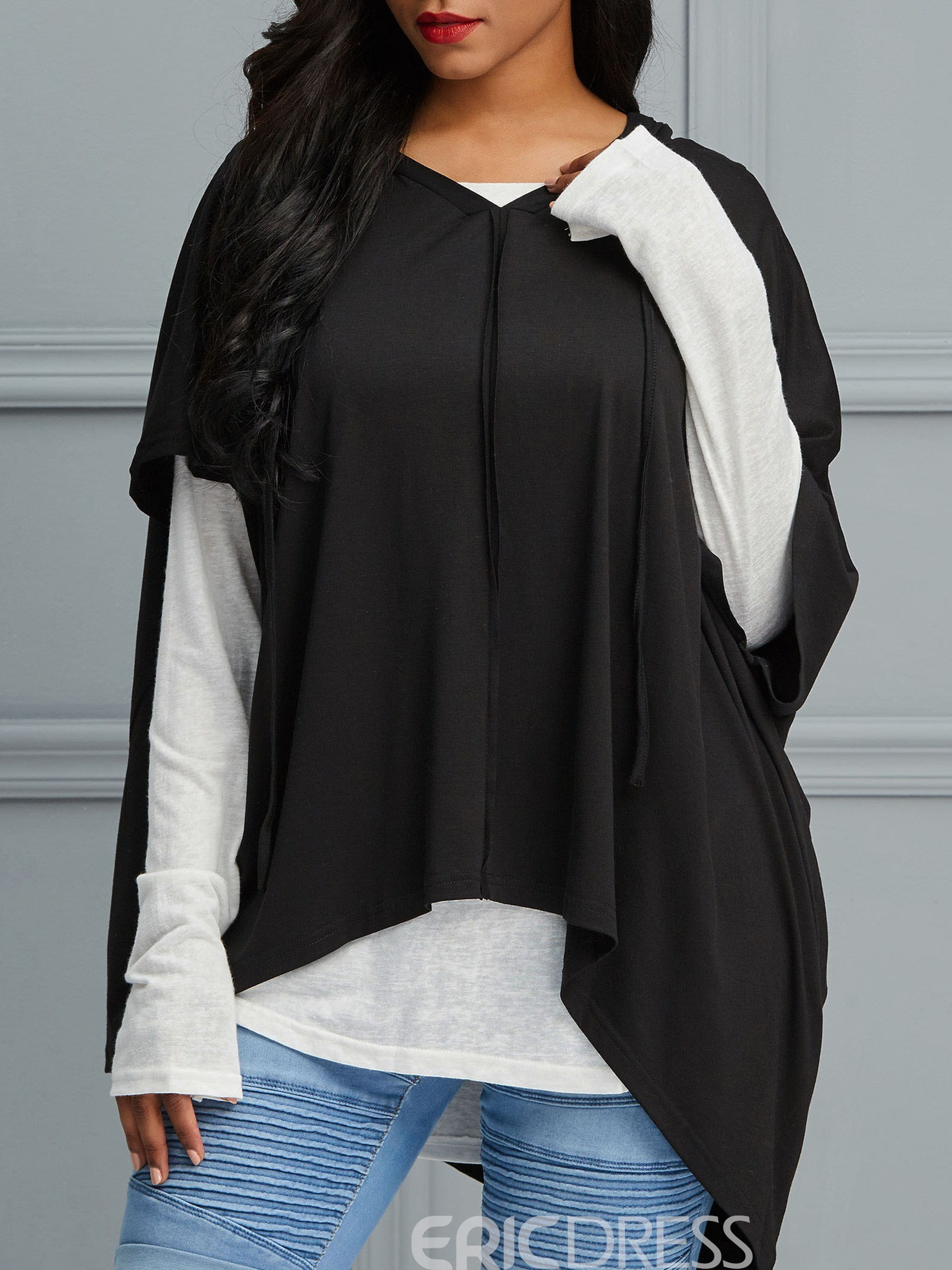 Ericdress Loose Two-Piece Patchwork Long Sleeve T-shirt