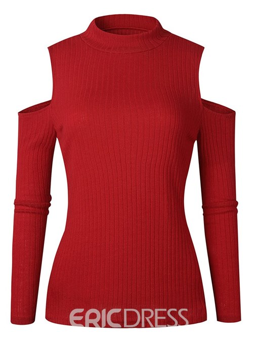 Ericdress Plain Cold Shoulder Thin Long Sleeves Knitwear