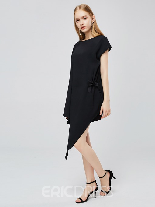 Ericdress Asymmetrical Casual Flare Sleeve Bowknot Round Neck Plain Dress