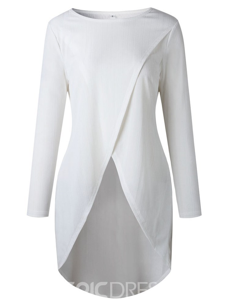 Ericdress Asymmetric Plain Mid-Length Long Sleeve T-shirt