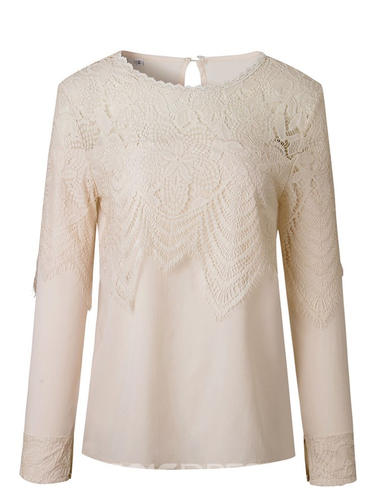 Ericdress Casual Lace Patchwork Long Sleeve Blouse