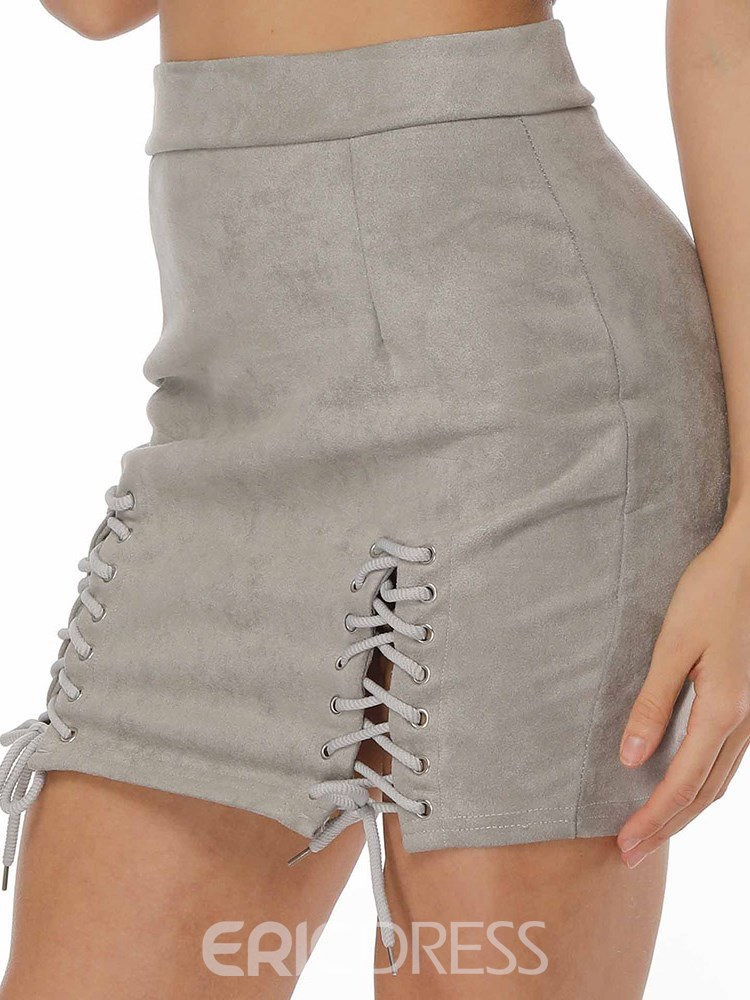 Ericdress Patchwork Lace-Up Bodycon Women's Skirt