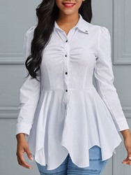 Ericdress Lapel Plain Single-Breasted Button Blouse thumbnail