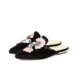 Ericdress Appliques Rhinestone Suede Pointed Toe Flat Mules