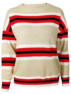 Ericdress Stripe Loose Scoop Long Sleeves Knitwear