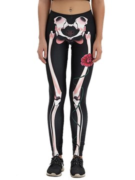 Ericdress Punk Skinny Bone Leggings Pants