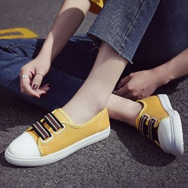 Ericdress Canvas Stripe Slip-On Mustard Yellow Shoes