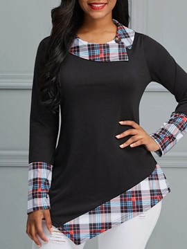 Ericdress Color Block Plaid Asymmetric Long Sleeve T-shirt