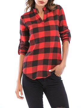 Ericdress Gingham Casual V-Neck Long Sleeve Blouse