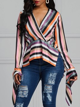 Ericdress V-Neck Slim Mid-Length Patchwork Long Sleeve Blouse