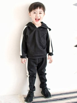 Ericdress Plain Striped Hoodies & Pants Baby Boy's Sports Casual Outfits
