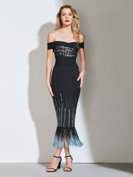 Ericdress Sheath Off The Shoulder Black Mermaid Cocktail Dress