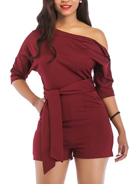 Ericdress Plain Asymmetric Women's Rompers
