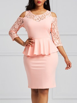 Ericdress Bodycon Lace Patchwork Women's Dress