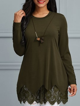 Ericdress Casual Scoop Plain Mid-Length Long Sleeve T-shirt