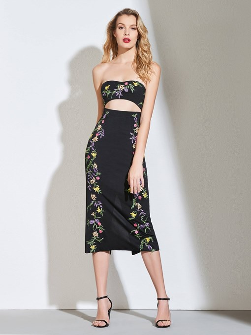Ericdress Chic Strapless Sheath Tea Length Cocktail Dress