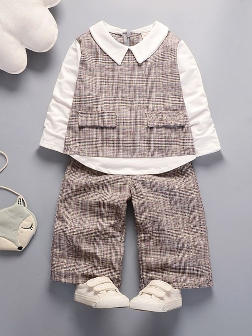 Ericdress Plaid Patchwork Shirts & Pants Baby Girl's Casual Outfits