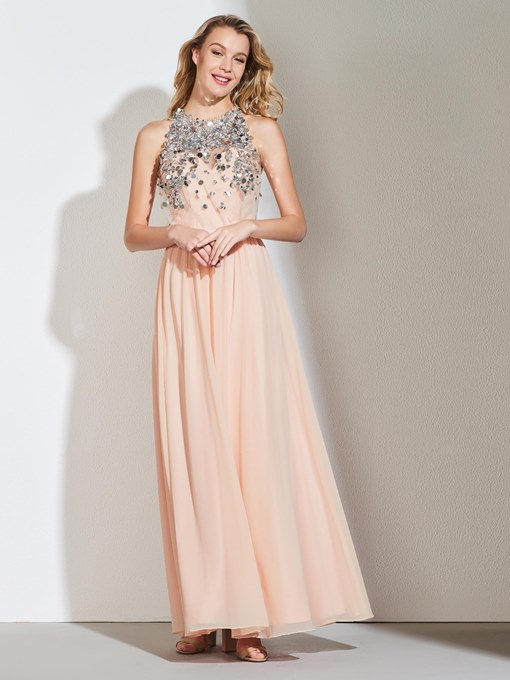 Ericdress A Line Halter Sequin Long Evening Dress