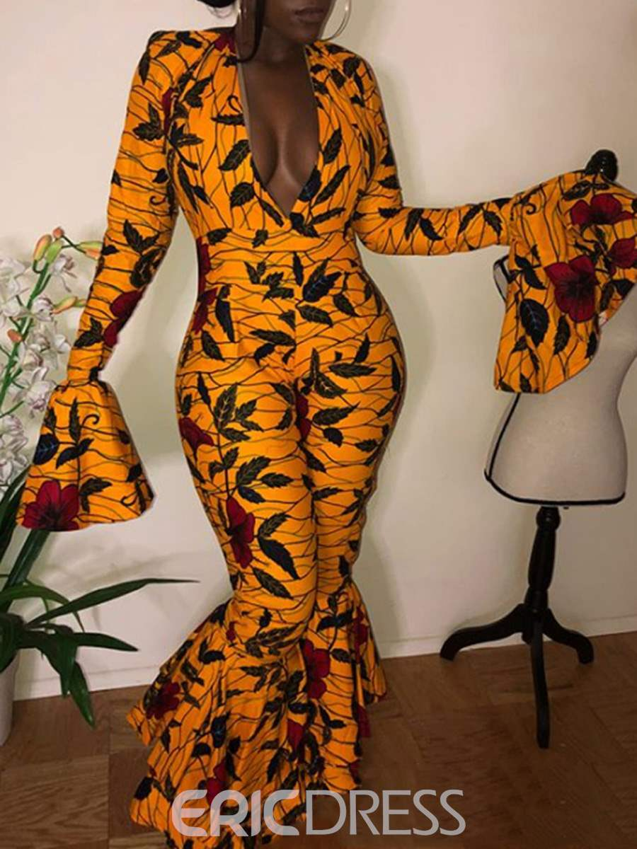 Ericdress Floral Print Flare Sleeve Women's Jumpsuits