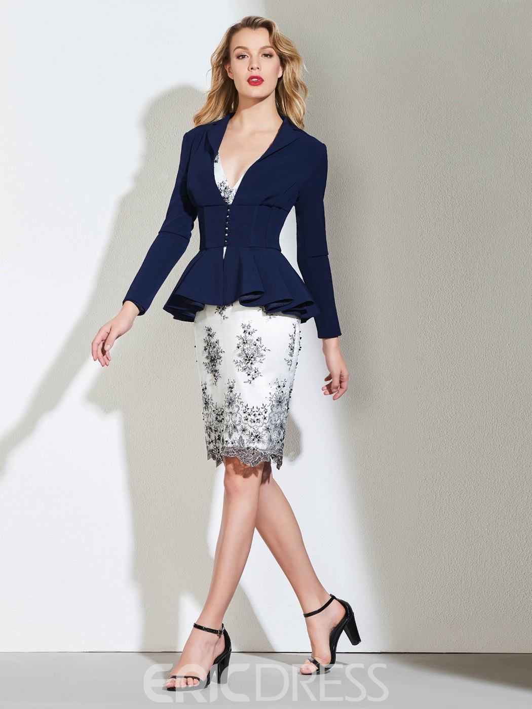Ericdress Sheath Long Sleeve Mother Of The Bride Dress With Applique
