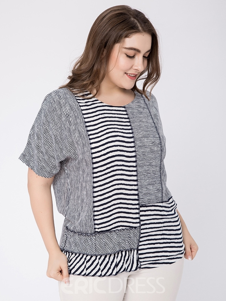Ericdress Patchwork Stripe Plus Size Loose T-Shirt