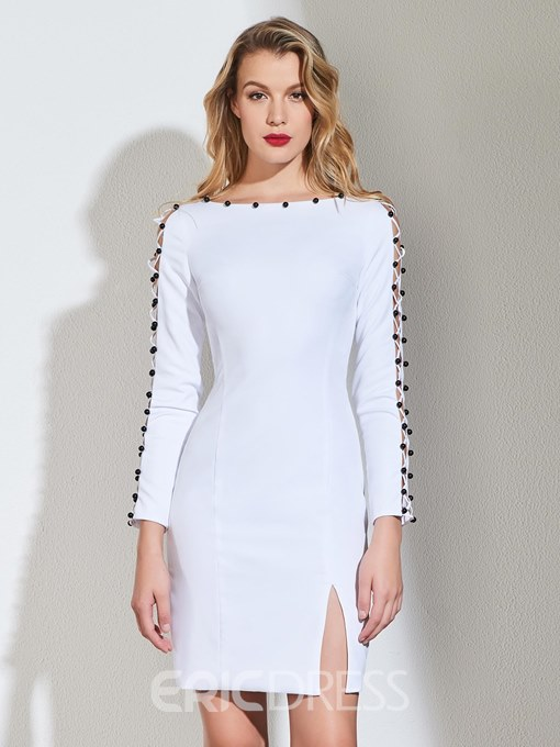 Ericdress Sheath Long Sleeve Short White Cocktail Dress