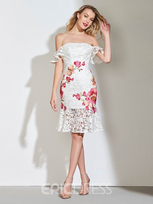 Ericdress Off The Shoulder Lace Mermaid Cocktail Dress