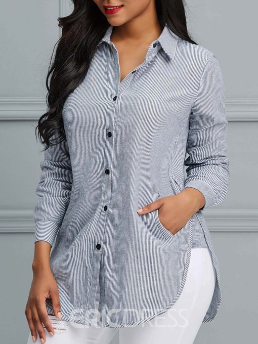 Ericdress Casual Stripe Single-Breasted Long Sleeve Blouse