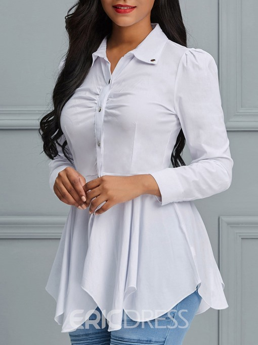 Ericdress Lapel Plain Single-Breasted Button Blouse