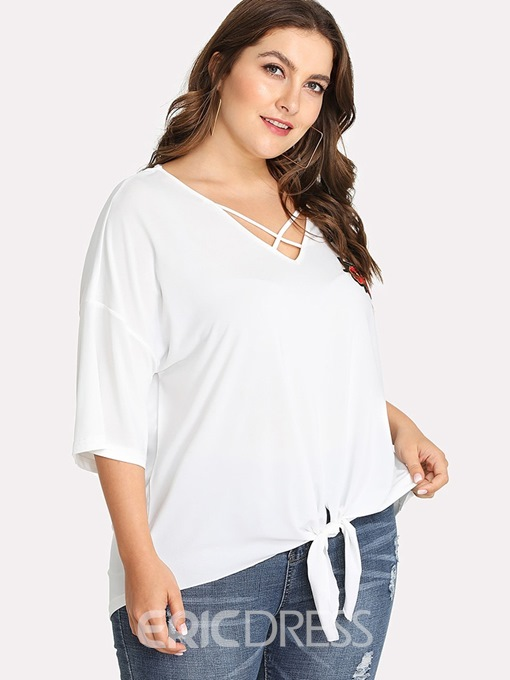 Ericdress Embroidery Lace-Up Single Plus Size T-Shirt