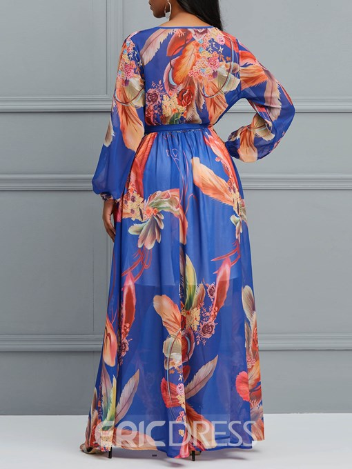 Ericdress Floor-Length Lantern Sleeve Print Women's Dress