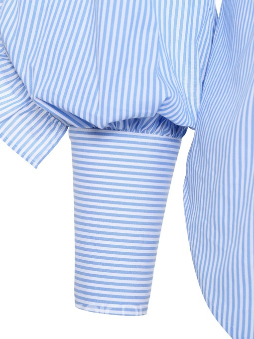 Ericdress Stripe Patchwork Stringy Selvedge Polo Neck Plus Size Blouse