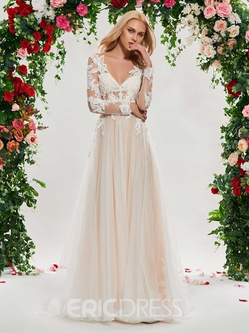 Ericdress Long Sleeves Appliques Color Wedding Dress