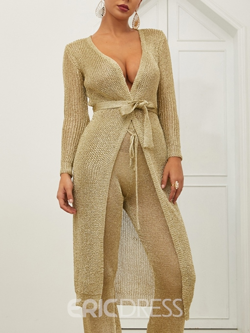Ericdress Hollow V-Neck Thin Golden Long Cardigan