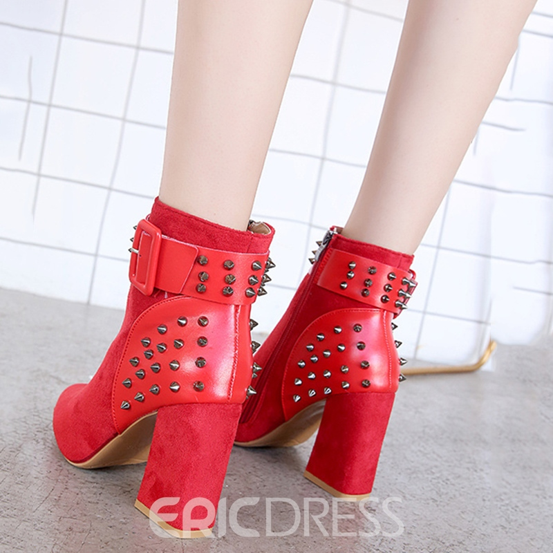 Ericdress Suede Rivet Buckle Pointed Toe Ankle Boots