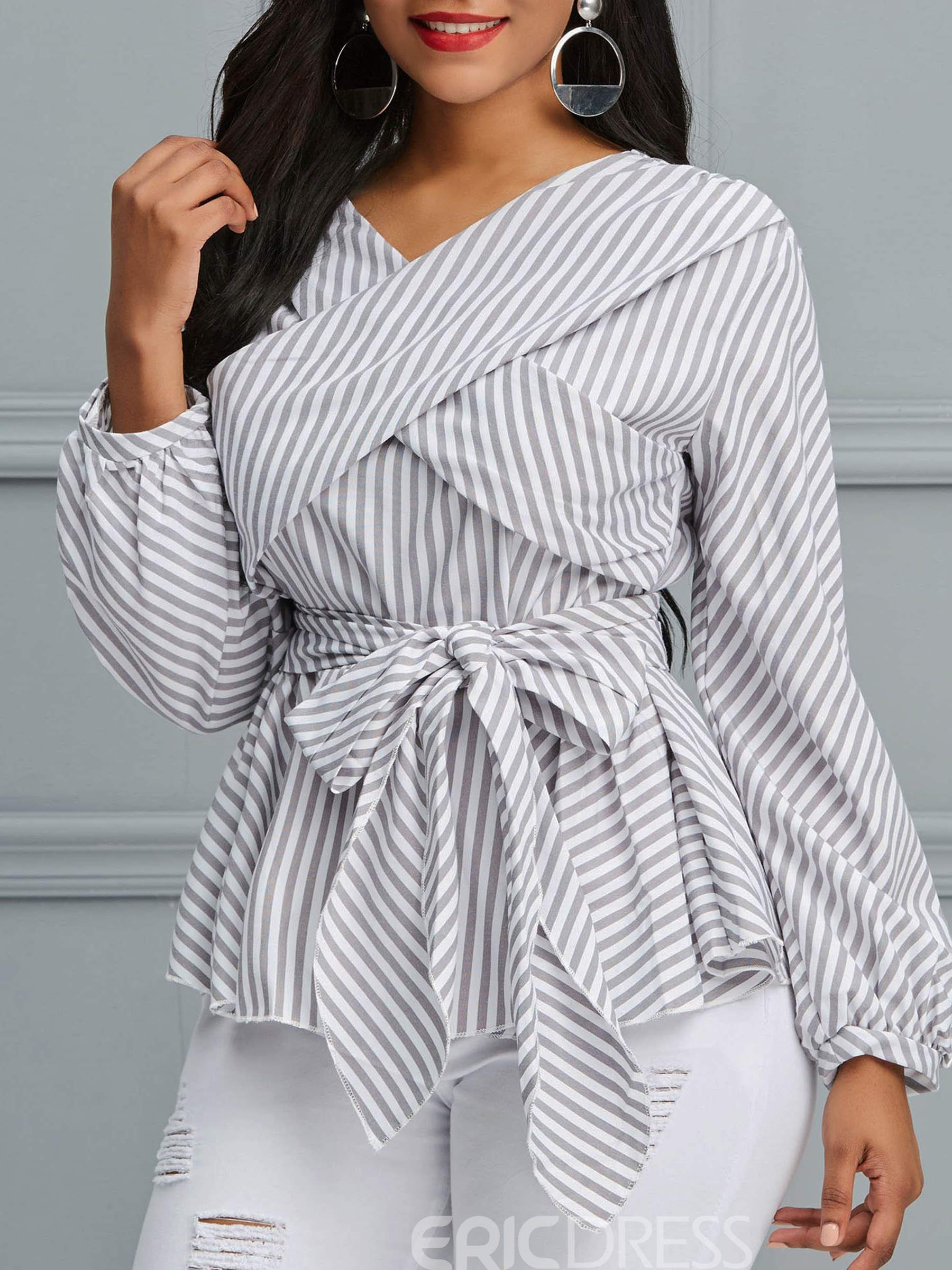 Ericdress Wrap Ruffles Stripe Long Sleeve Blouse