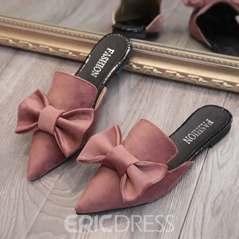 Ericdress Suede Bowknot Slip-On Black Pointed Toe Mules