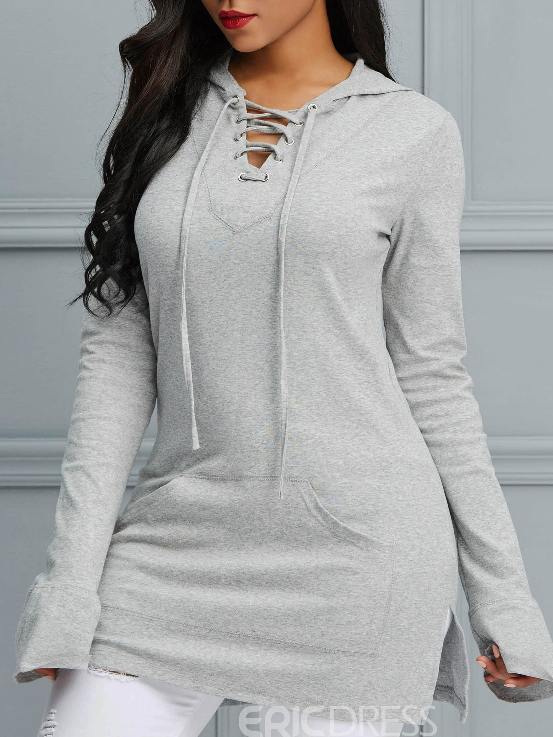 Ericdress Plain Lace-Up Pocket Cool Hoodie