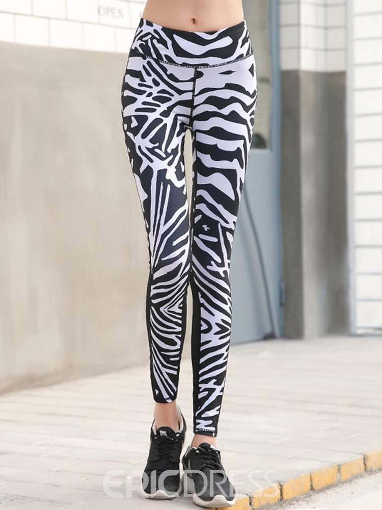 Ericdress Patchwork Zebra Stripe Leggings
