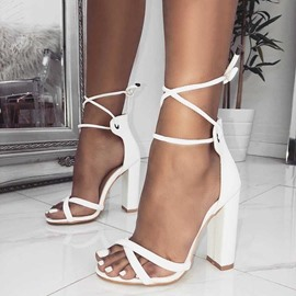 Ericdress Plain Heel Covering Lace-Up Chunky Sandals