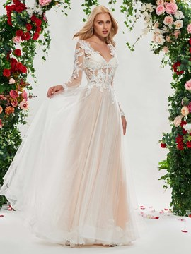 Ericdress Long Sleeves Color Wedding Dress 0eb620730436