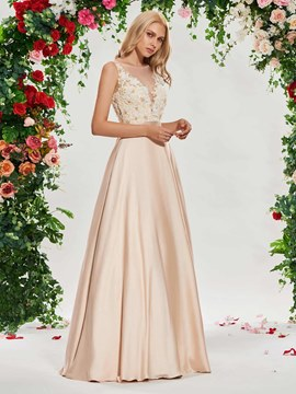 Ericdress Sheer Neck Beading Button Wedding Dress