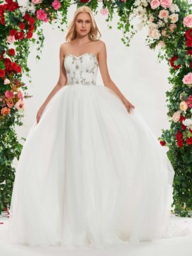 Ericdress Sweetheart Beaded Tulle Wedding Dress