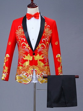 Ericdress Floral Printed Chinese Style Mens Ball Party Suits