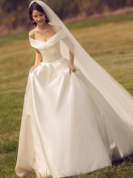 Ericdress Off the Shoulder Matte Satin Wedding Dress
