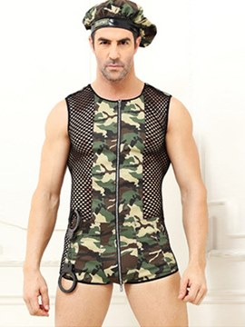 Ericdress Men's Sexy Lingerie Camouflage Zipper Military Costume