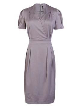 Ericdress Office Lady Plain Knee-Length Women's Dress